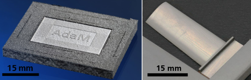 Left: Ultrashort pulsed laser ablation of a IN718 cuboid produced by SLM. The surface roughness was reduced from 20 µm to 4 µm. Right: Ultrashort pulsed laser ablation of a turbine blade made of IN718. Processing time is 4.5 hours.
