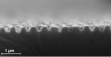 On silicon with USP-laser radiation-induced self-assembled periodic surface structures, so-called ripples.